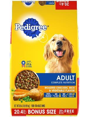 front label of pedigree adult roasted chicken, rice & vegetable flavor bonus size dog food