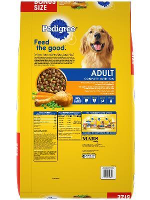 back label of pedigree adult roasted chicken, rice & vegetable flavor bonus size dog food