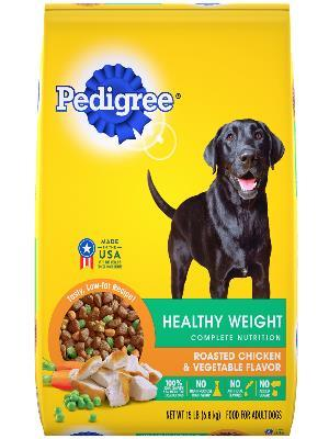 front label of pedigree healthy weight roasted chicken & vegetable flavor complete nutrition dog food